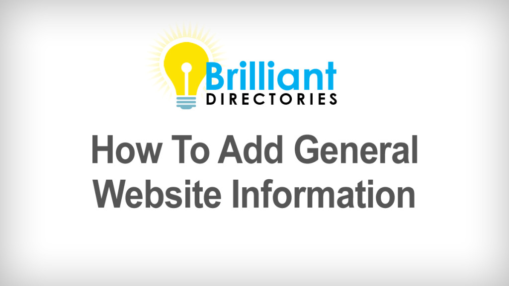 how to add general website information