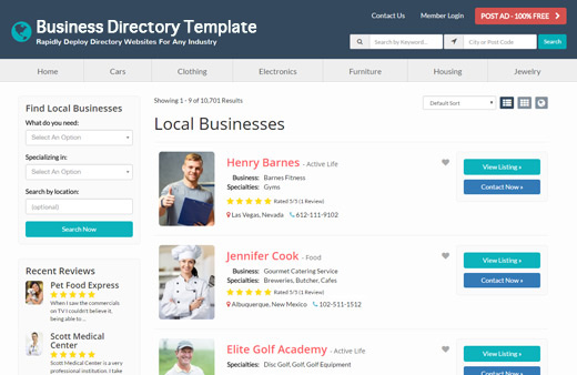 Best business directory template