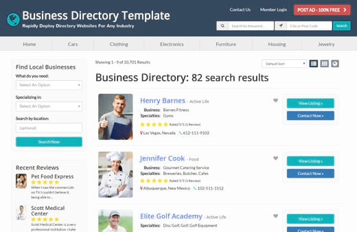 Brilliant directories free demo website directory software best directory website theme flashek