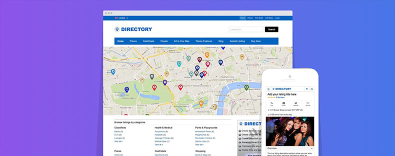 Templatic mobile directory theme